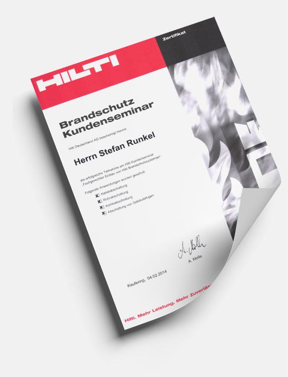 HILTI Brandschutzzertifikat