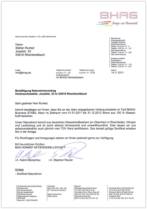 BHAG Zertifikat 2011