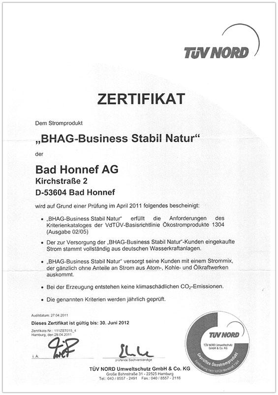 BHAG Zertifikat 2012
