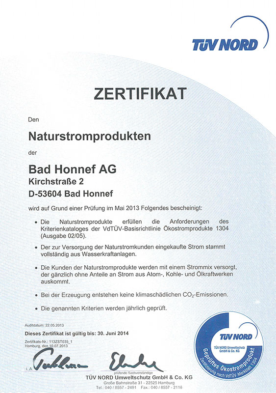 BHAG Zertifikat 2014